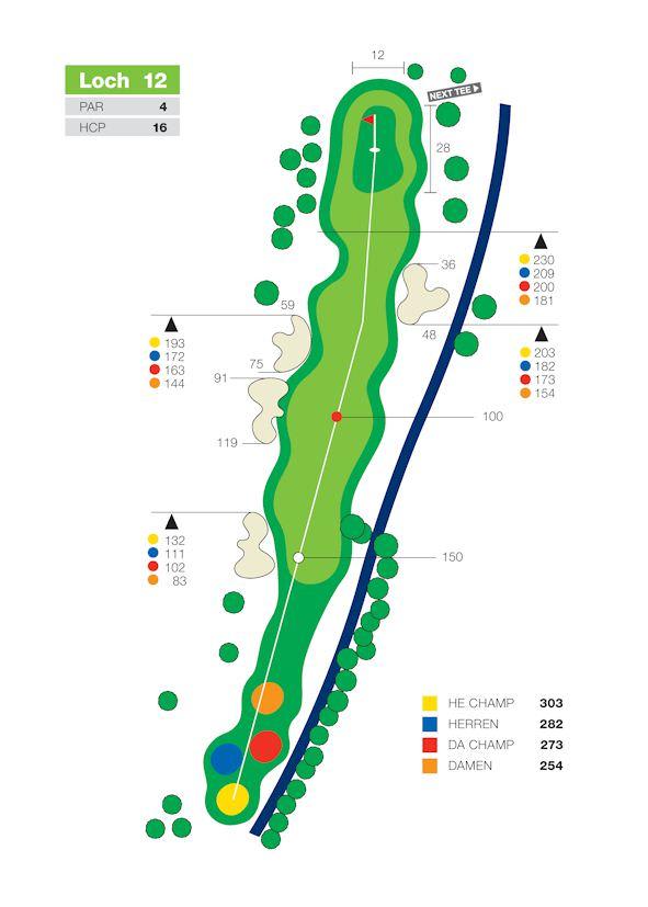 """Das kürzeste Par 4 auf der Anlage und trotzdem ist jeder Golfer hier froh, das Grün mit einem Par zu verlassen. Links die Ausgrenze zur Straße und der Wassergraben rechts entlang der kompletten Bahnlänge haben schon manchem den """"Score versaut"""". Zudem ist das Grün sehr schmal, aber lang und fällt nach vorne."""